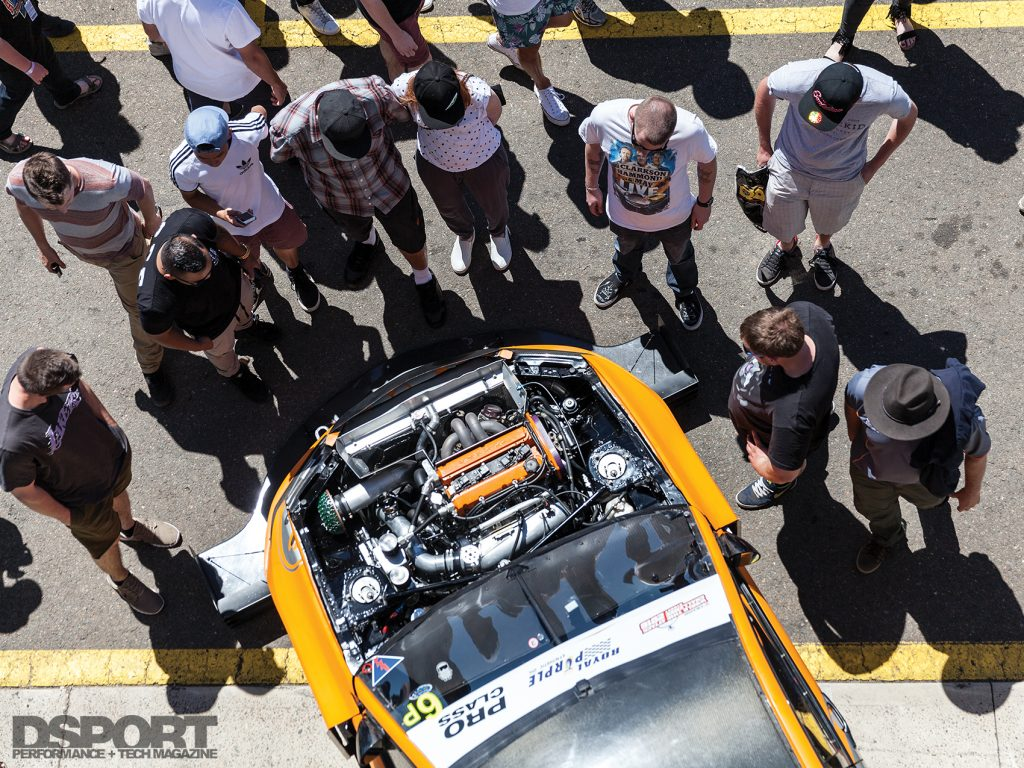 Crowd checking out a car at the 2016 World Time Attack Challenge